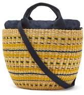Muun Striped Woven-grass Basket Bag - Womens - Yellow Multi