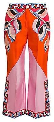 Emilio Pucci Women's Heliconia-Print Silk Twill Trousers