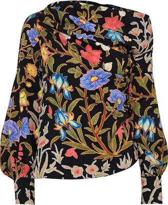 Peter Pilotto One-shoulder Gathered Floral-print Cloque Top