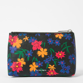 Paul Smith Women's Black Leather 'Wild Floral' Print Make-Up Bag