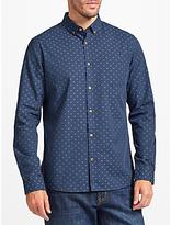 John Lewis Dobby Cotton Shirt, Navy