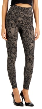 INC International Concepts Inc Snakeskin-Print Compression Leggings, Created for Macy's