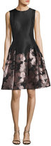 Carmen Marc Valvo Sleeveless Floral Brocade Fit-and-Flare Dress, Blush/Black