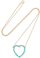 Jennifer Meyer Open Heart 18-karat Gold Turquoise Necklace