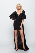 Milano Formals - Bell Sleeves Deep V-Neck Sequined Long Dress with Thigh-High Slit E2110