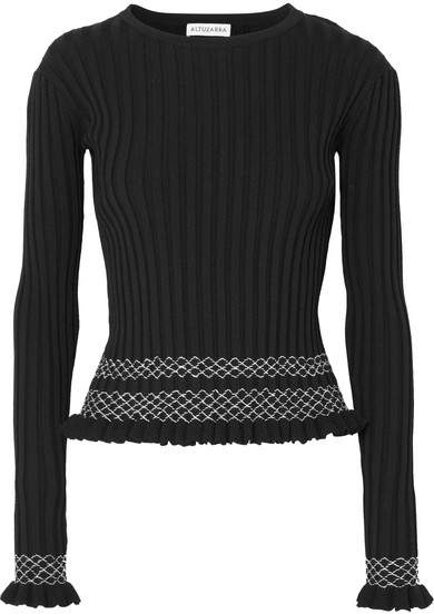 Altuzarra Malou Embroidered Ribbed-knit Top - Black