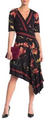 BCBGMAXAZRIA V-Neck Elbow Sleeve Dress