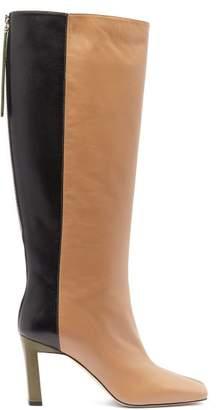 Wandler Isa Tri Colour Square Toe Leather Boots - Womens - Khaki Multi
