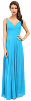 Laundry by Shelli Segal Pleated Chiffon Open Back Gown