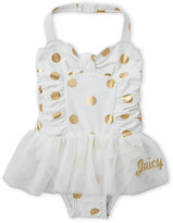 juicy couture (Infant Girls) Metallic Dot One-Piece Swimsuit