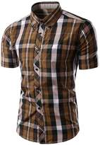 Ubling Mens Plaid Woven Short Sleeve Shirt With Plaid Patterns L