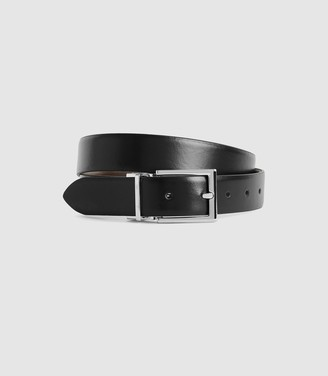 Reiss Ricky - Reversible Leather Belt in Black/ Dark Brown