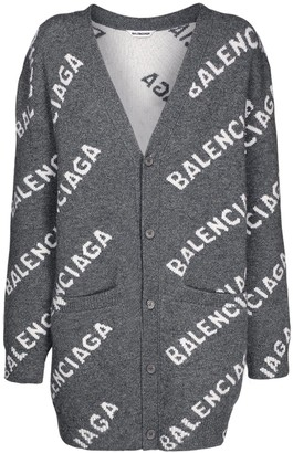 Balenciaga All Over Logo Wool Knit Cardigan