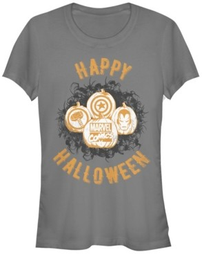 Fifth Sun Marvel Women's Happy Halloween Hero Icons Short Sleeve Tee Shirt