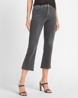 Express High Waisted Black Raw Hem Cropped Flare Jeans