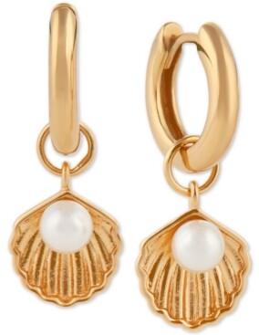 Olivia Burton Imitation Pearl Sea Shell Charm Hoop Earrings