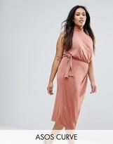 Asos High Neck Tie Side Midi Bodycon Dress