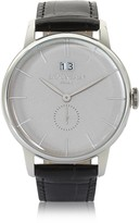 Locman 1960 Silver Stainless Steel Men's Watch w/Black Croco Embossed Leather Strap