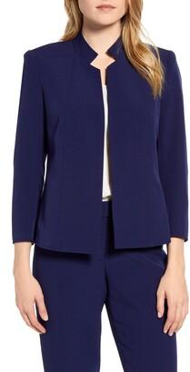 Anne Klein Stand Collar Crepe Jacket