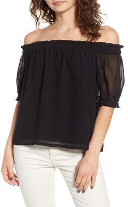 1 STATE 1.State Off the Shoulder Gauze Chiffon Blouse
