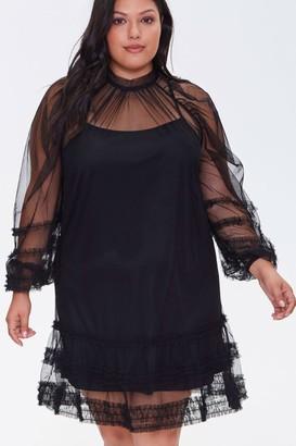 Forever 21 Plus Size Ruffled Mesh Mini Dress