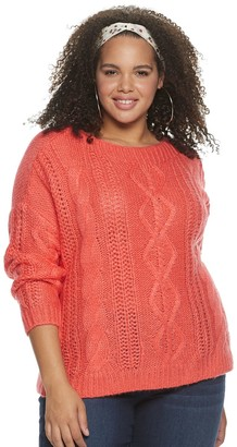 So Juniors' Plus Size Boatneck Cable Front Pullover Sweater