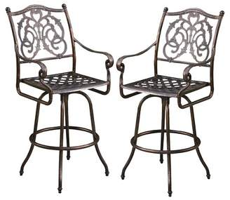 Christopher Knight Home Casselberry Set of 2 Cast Aluminum Patio Bar Stools - Shiny Copper