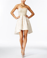 Teeze Me Juniors' Embellished Jacquard Fit & Flare Dress