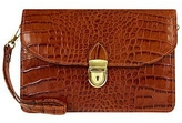 L.a.p.a. Cognac Croco-embossed Leather Clutch