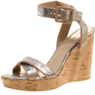 Stuart Weitzman Metallic Silver Embossed Suede Cross Strap Cork Wedge Sandals Size 40.5