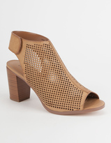 City Classified Perforated Peep Toe Womens Booties