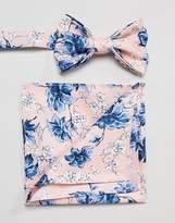 Asos DESIGN Wedding Bow Tie & Pocket Square In Pink Floral Print