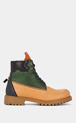Buscemi Men's Site Pebbled Leather Lace-Up Boots - Beige, Tan