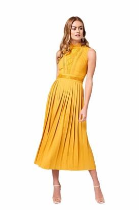 Little Mistress Women's Penelope Spice Gold Lace-Trim Midaxi Dress Party Yellow 001 8 (Size:8)