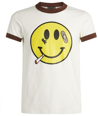 Natasha Zinko Smiley Face Contrast Hem T-Shirt