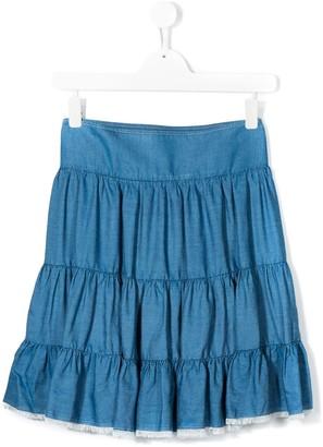 Chloé Kids TEEN tiered denim skirt