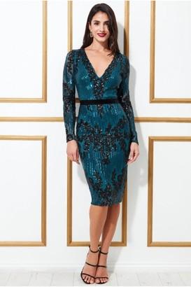 Goddiva Long Sleeve Sequin Party Midi Dress - Teal