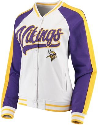 New Era Women's White/Purple Minnesota Vikings Varsity Full Snap Jacket