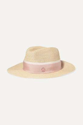 Maison Michel Henrietta Grosgrain-trimmed Straw Hat - Pink