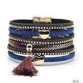 Mb M&B Hot Denim Multi-Layered Cuff Bracelet with Gold Accents and Magnetic Closure (Brown and Gold)
