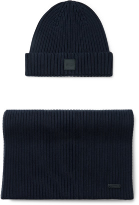 HUGO BOSS Ribbed Cotton And Wool-blend Beanie And Scarf Set - Blue