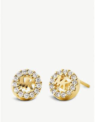 Michael Kors Round monogram pave-embellished yellow gold-plated stud earrings
