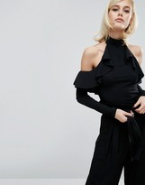 Fashion Union High Neck Ruffle Body With Cold Shoulder
