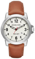 Michael Kors Paxton Stainless Steel Leather Strap Watch