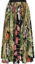ADAM by Adam Lippes Pleated Printed Cotton-voile Midi Skirt - Green