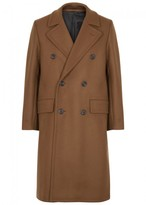 Ami Brown Double-breasted Wool Blend Coat