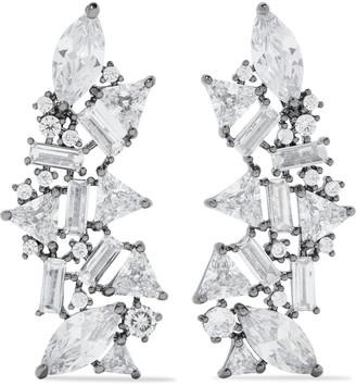 Noir Silver-tone Crystal Earrings