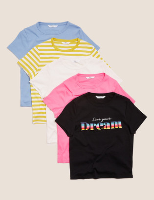 Marks and Spencer 5pk Pure Cotton T-Shirts (6-16 Yrs)