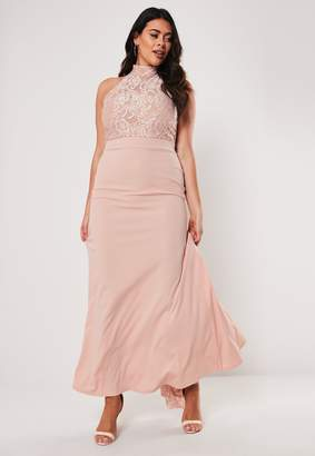 Missguided Plus Size Bridesmaid Pink Halterneck Maxi Dress