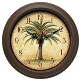 Infinity Instruments Palm Tree Cabana Round Wall Clock Brown